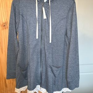 LOGO lounge hoodie with lace trim
